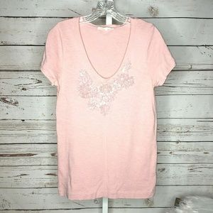 J Crew vintage look beaded T shirt size M Pink